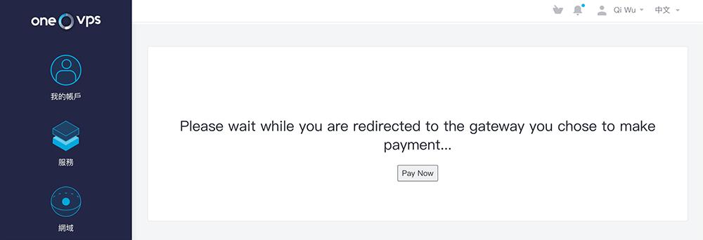 onevps主机购买第三方支付跳转