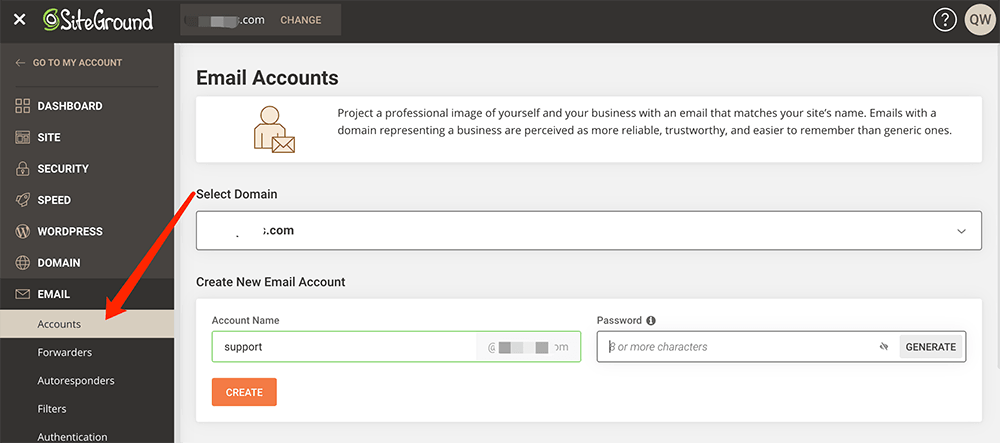 siteground主机添加企业邮箱
