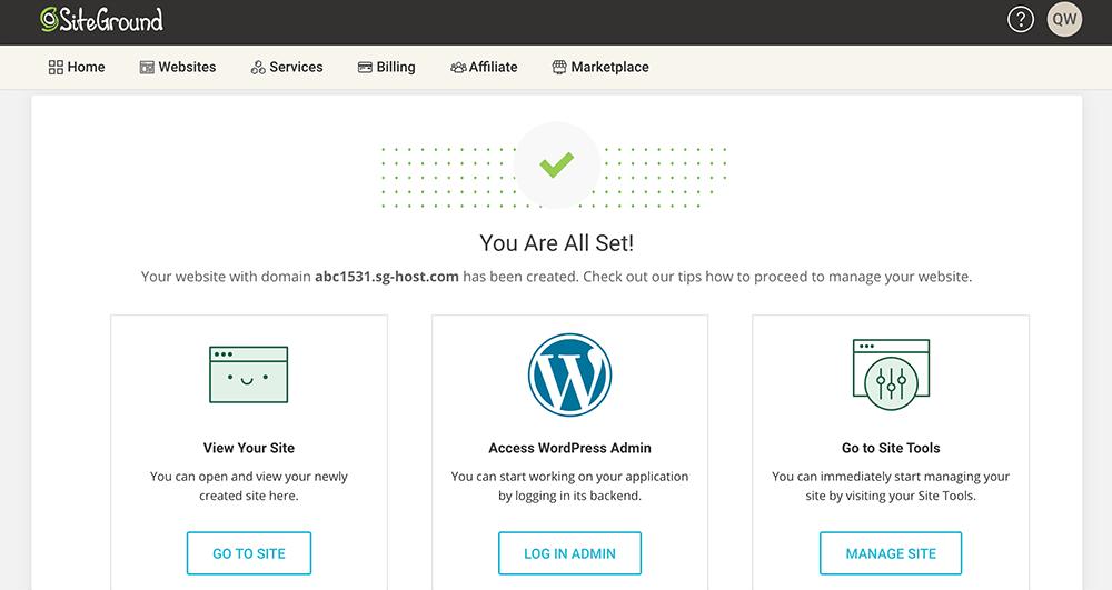 siteground安装wordpress成功