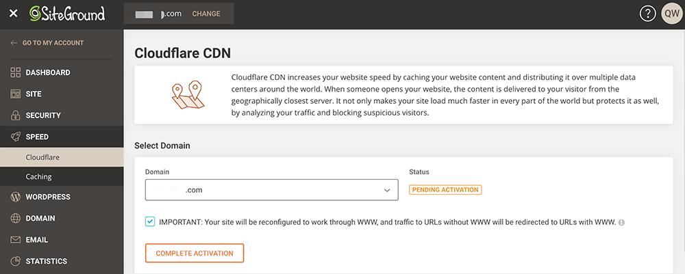 siteground完成CDN加速服务配置