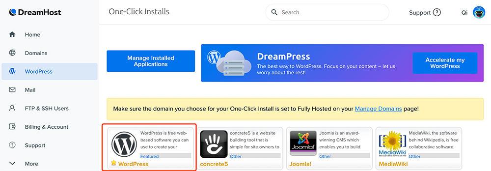 DreamHost主机安装wordpress选择wordpress