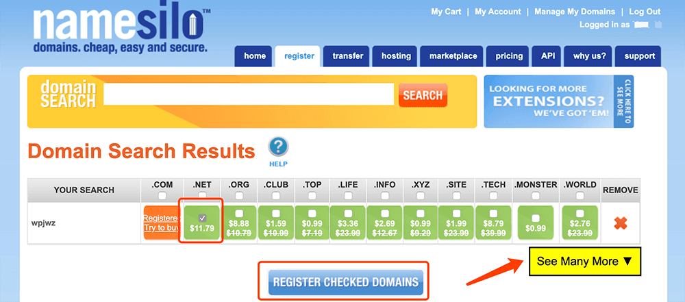 Namesilo域名注册购买解析域名查找
