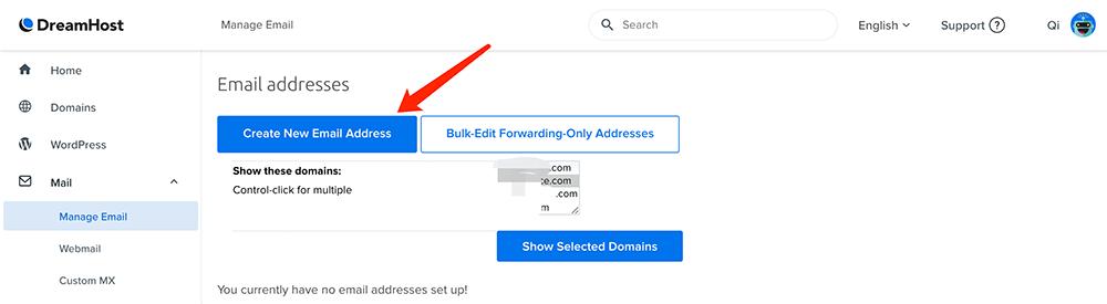 dreamhost创建邮箱选择域名