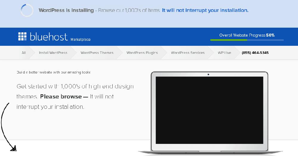 bluehost主机安装wordpress成功