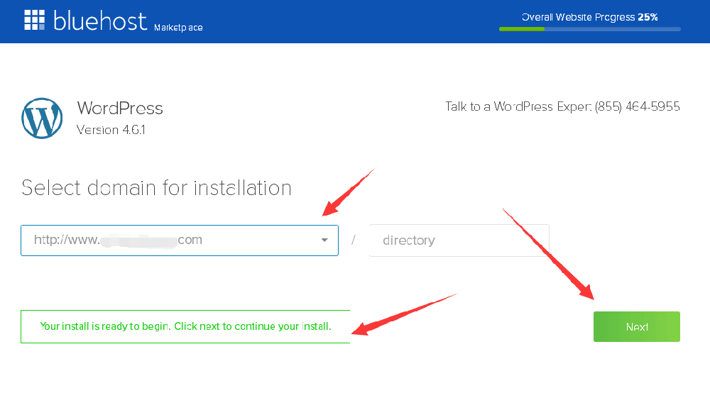 bluehost主机安装wordpress选择域名