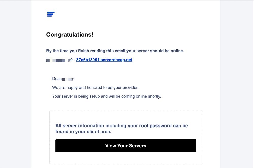 servercheap主机购买成功电子邮件