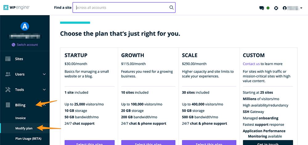 wpengine更改主机套餐计划